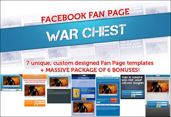 Product picture Facebook Fanpage Warchest Templates With PLR